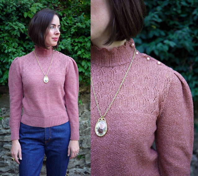 Vintage Blush Pink Puff Sleeve Sweater - sundaybluesvintage