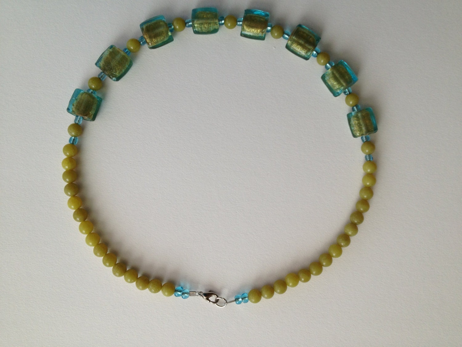 Light blue and lime green beads necklace - Handmade - Glass beads necklace