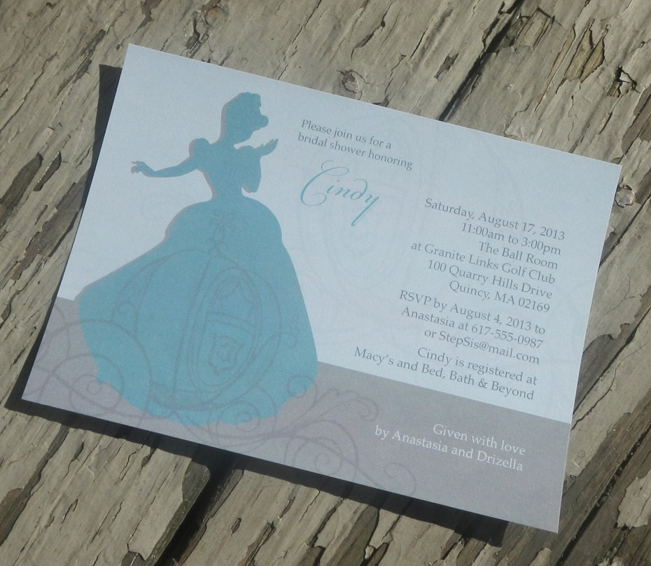 Disney 39 s cinderella theme bridal shower by kelliececilia for Themed bridal shower invitations
