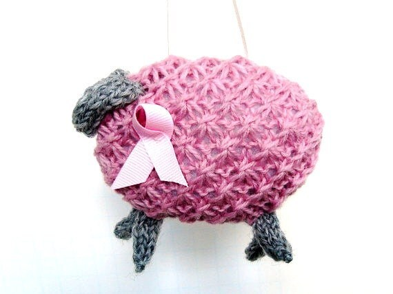 Breast Cancer Knitting Patterns : Breast Cancer Awareness Knitted Pink Sheep by ButtermilkCottage