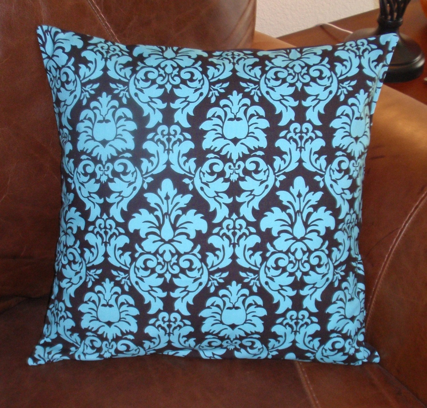 Throw Pillow 16x16 Removable cover sewn with Michael Miller's Dandy Damask in Spa - Turquoise and Brown