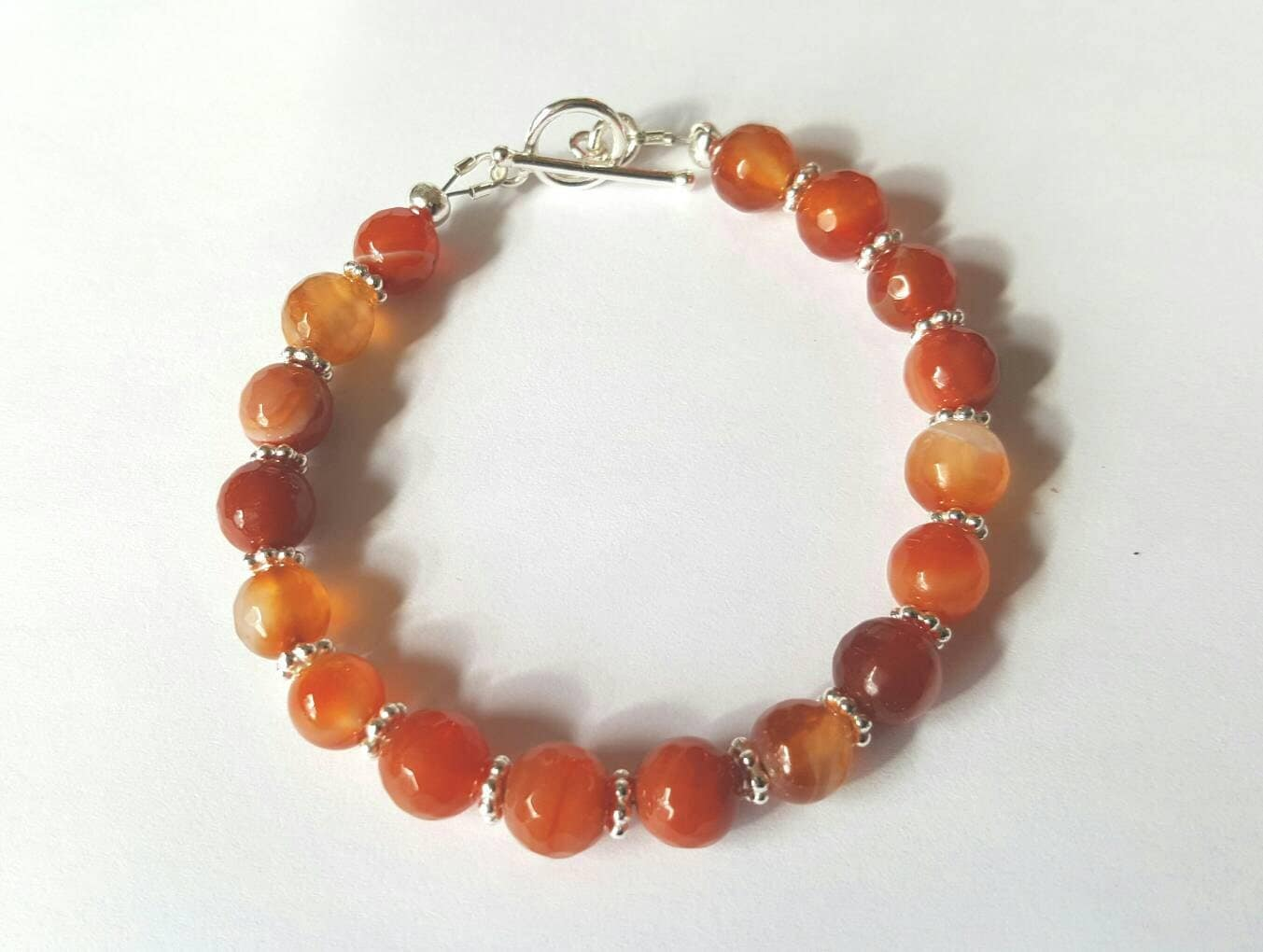 Orange agate and silver bracelet with toggle clasp