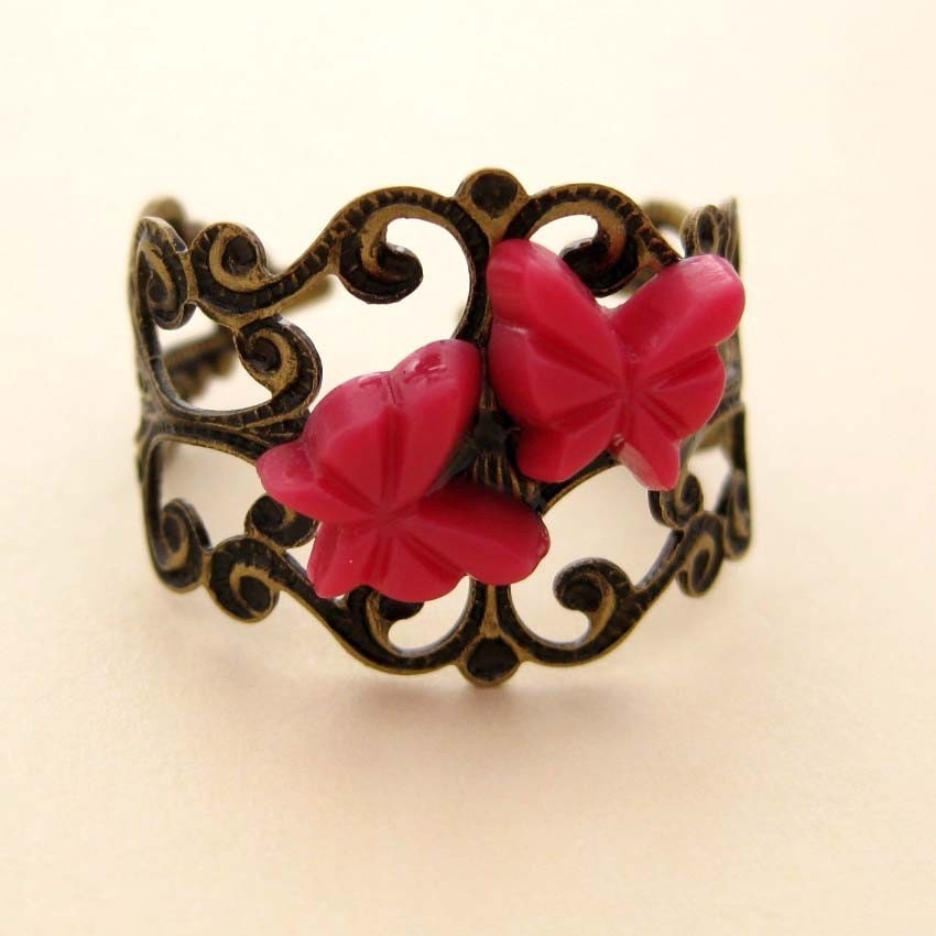 Burlesque Butterfly Antique brass filigree ring with red butterflies