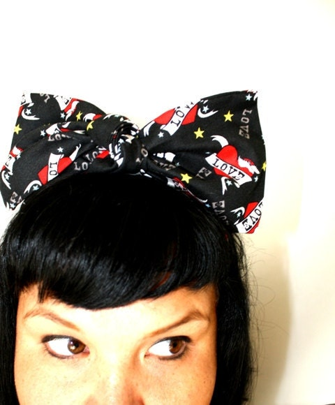 Retro Bow hair tie LOVE heart tattoo print