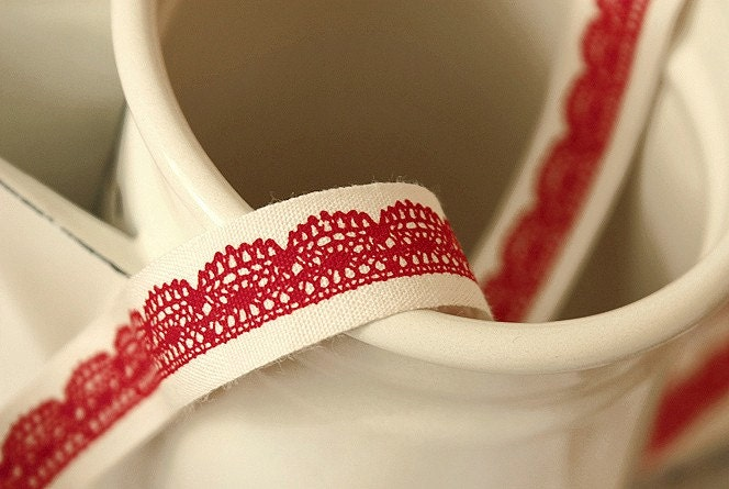 Collette Lace Cotton Label String - Red 2 yard