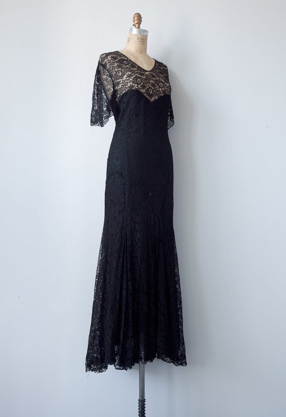 vintage 1930s dress / vintage 1930s black lace gown / vintage 30s formal party black dress