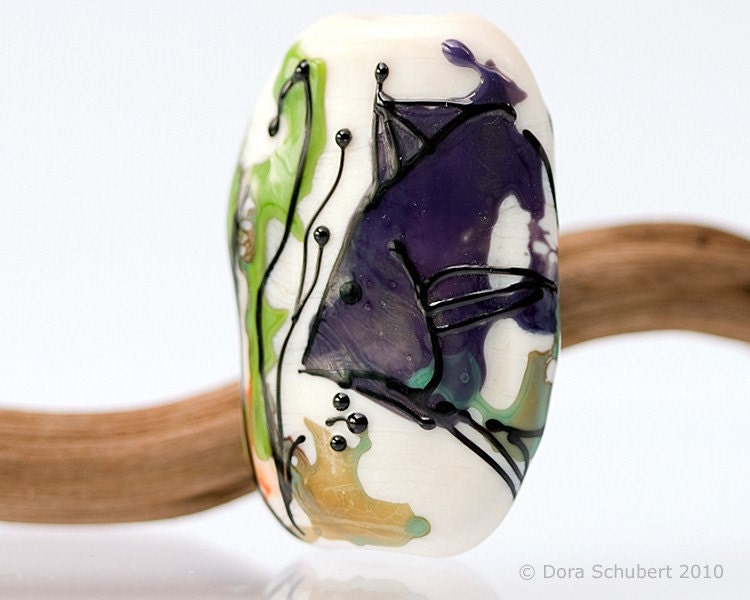 Lampwork Glass Beads by Dora Schubert -  THE POMFRET - 1 focal bead sra