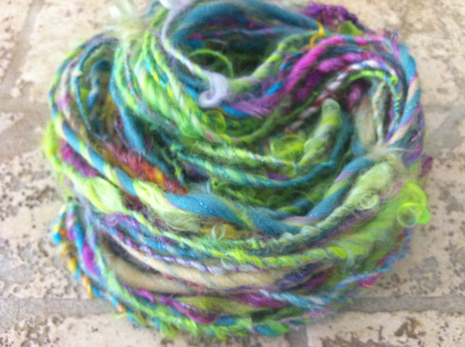 Electric Mix Bulky - Handspun & Hand dyed wool art yarn with wild colored (green yellow blue pink) mohair locks and a green accent thread