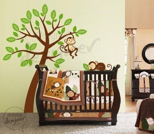 2 میمون از درخت خیلی بزرگ بیش از دله دزدی -- dd1046 -- کودکان و نوجوانان وینیل دیوار دشنه عکس برگردان هنر