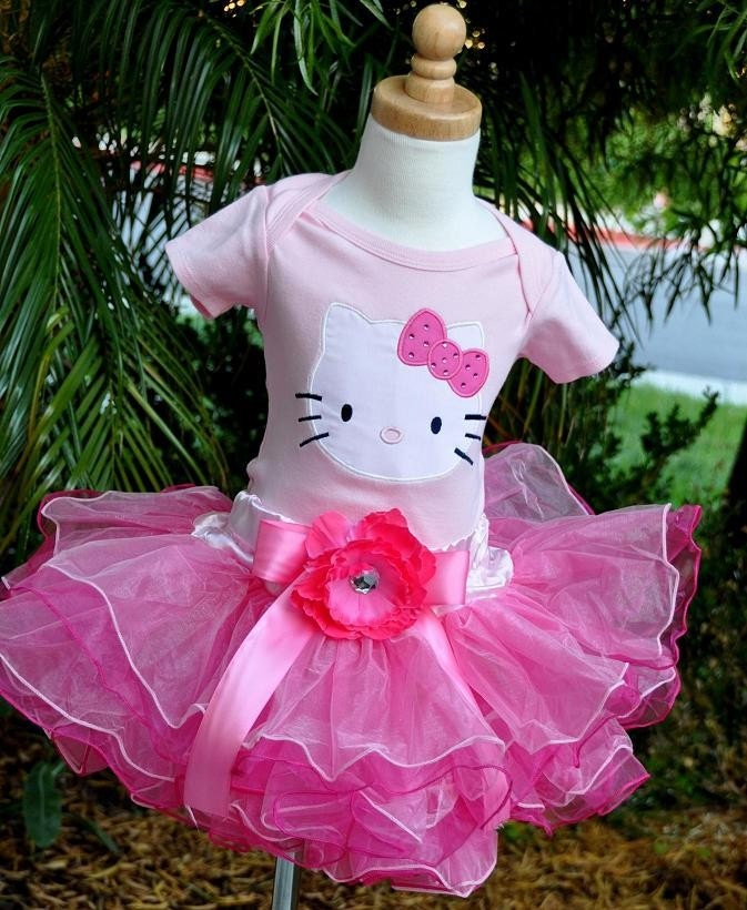 READY TO SHIP Pink Hello Kitty Birthday Tutu Onesie Set size 18-24m