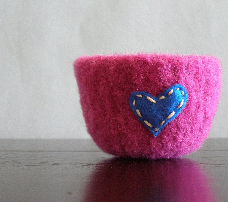 fuzzy fuschia felted wool bowl with bright blue eco felt heart