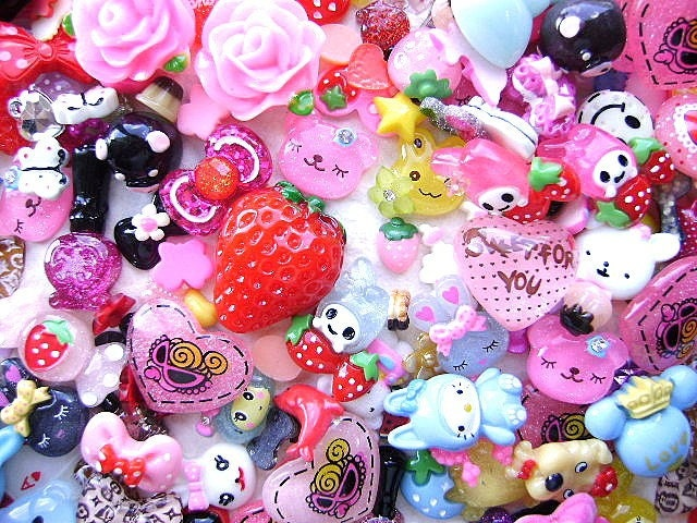 WHOLESALE Cute Japanese 220 Mix Cabochons And Charms BIG Pack E