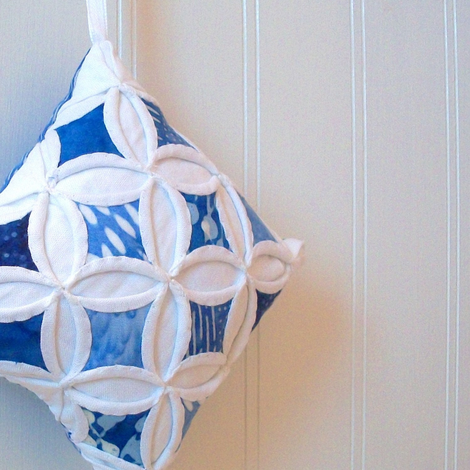 Christmas in July - Blue Batik Miniature Cathedral Window Pillow Ornament - 4 Inches