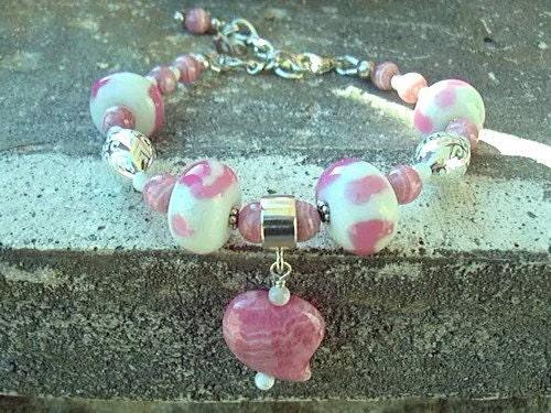 Raspberries and Cream Bracelet