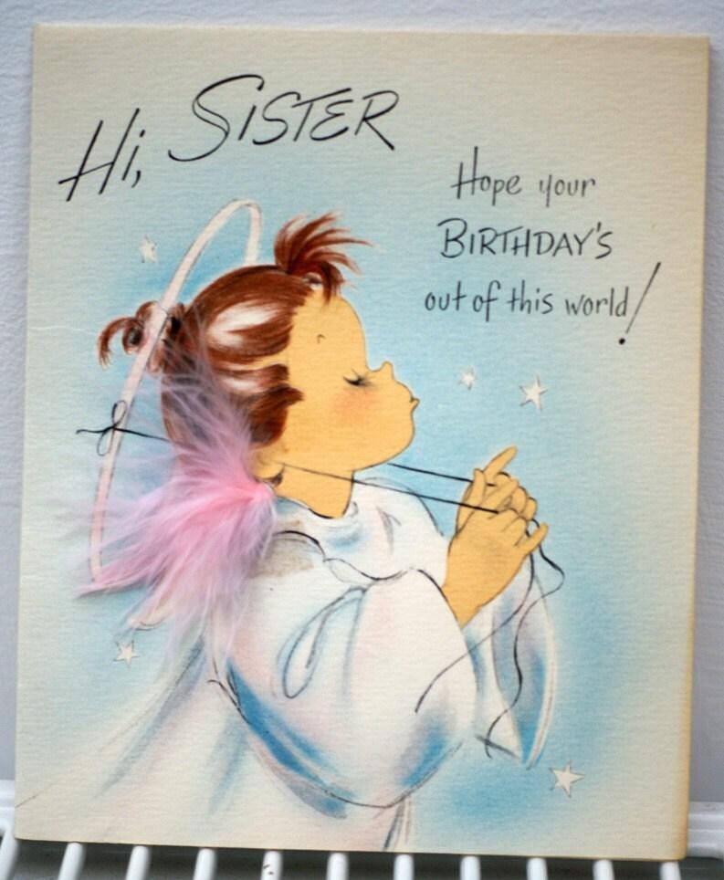 Vintage Birthday Wishes For Sister ~ Vintage s hi sister happy birthday by poshtottydesignz on etsy