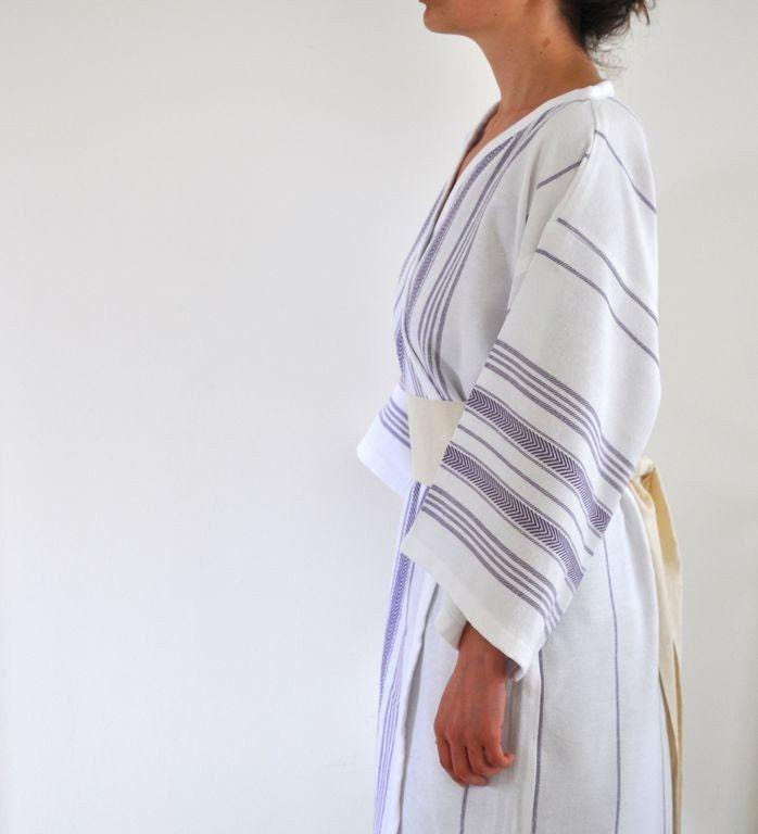 Handmade Eco Friendly Wearable Cotton Turkish Bath Towel - Peshtemal Kimono Robe Obi Belt White Dark Purple Lavender Amethyst Relax  Soft