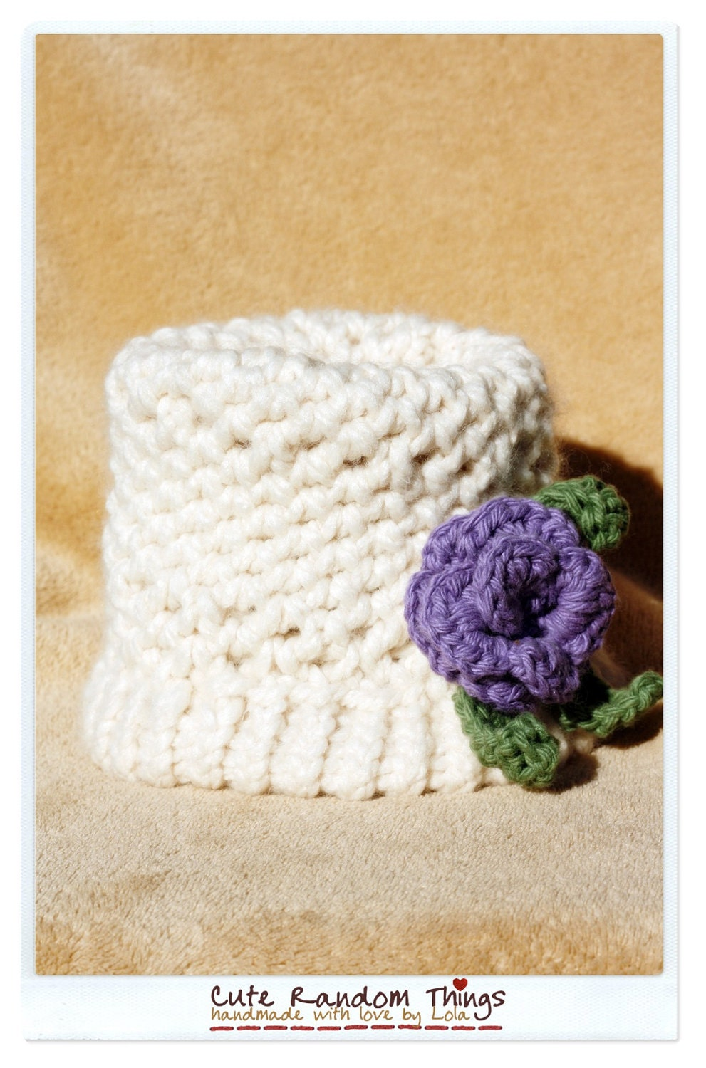 Elegant lady with purple flower - Knitted baby hat