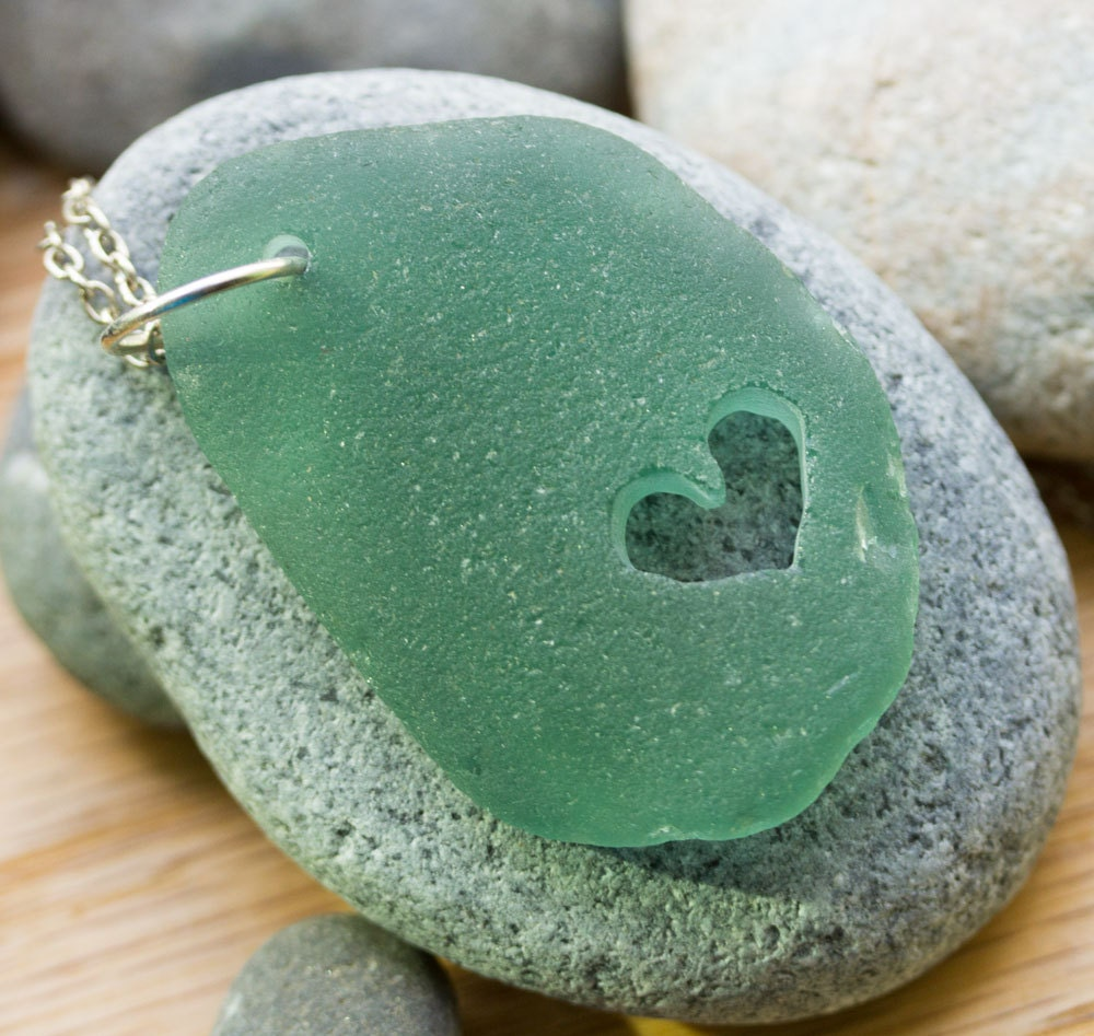Sea Glass Beach Glass Necklace with carved heart, Teal green, gift for her - BorealisSeaGlass
