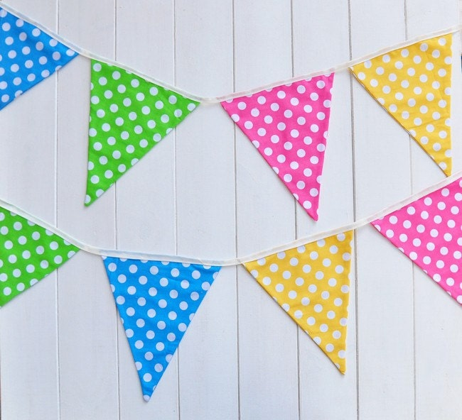 Polka  Dot Fabric Bunting - Party Flags Banner (10 Flags)