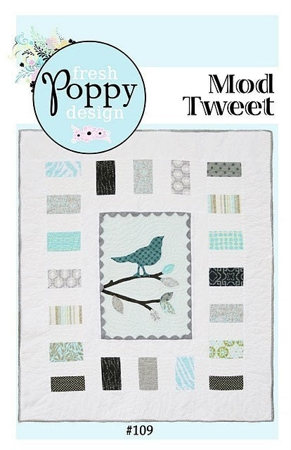 Mod Tweet Quilt PDF Pattern, bird and tree