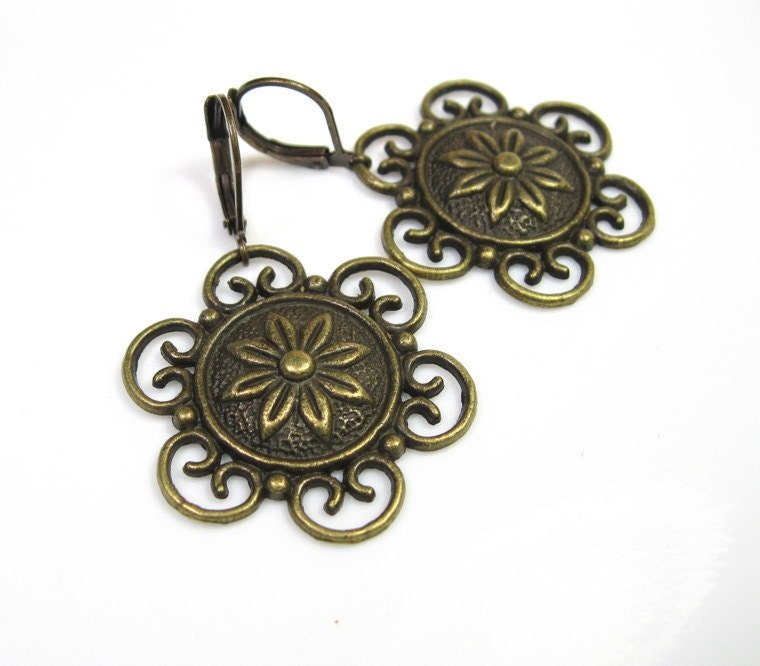 Flower Earrings, Antiqued Bronze, Vintage Style Jewelry
