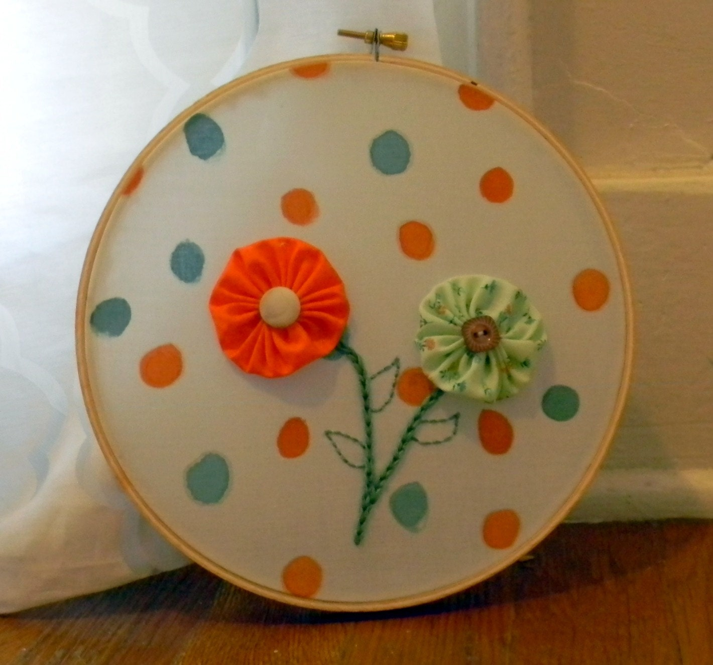 Spring Flower Poka Dot Wall Hanging