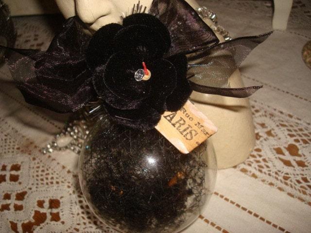 Glass Ball Ornament w/Black Millinery Netting and Velvet Flower OOAK Paris Tag
