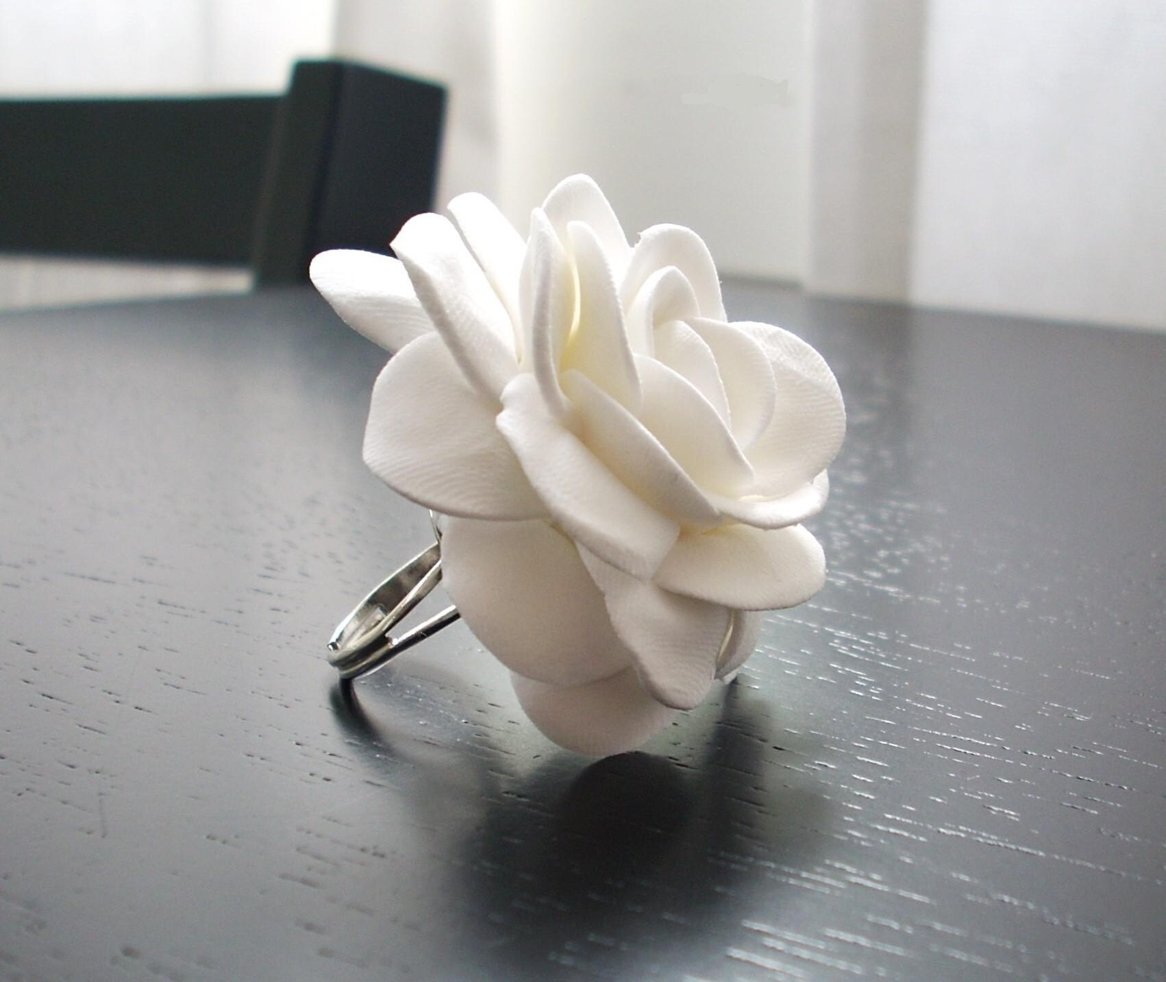 White Rose Ring, hand sculpted by FancifulForm on Etsy
