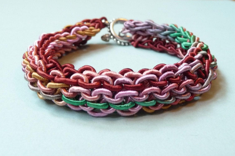 Hand Knit Bracelet - Fiber Bling, Jewel Tones