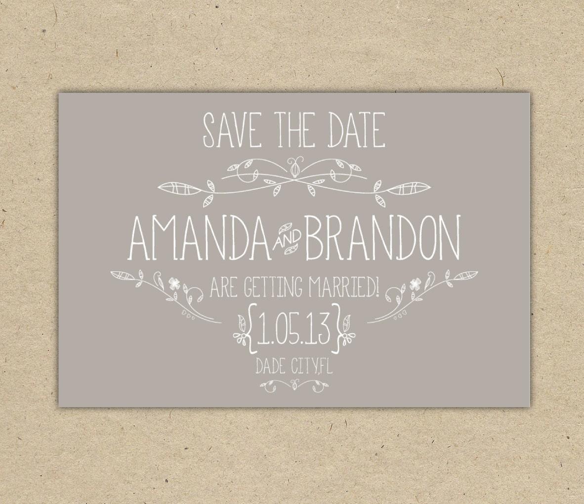 save the date custom printable template by bejoyfulpaper