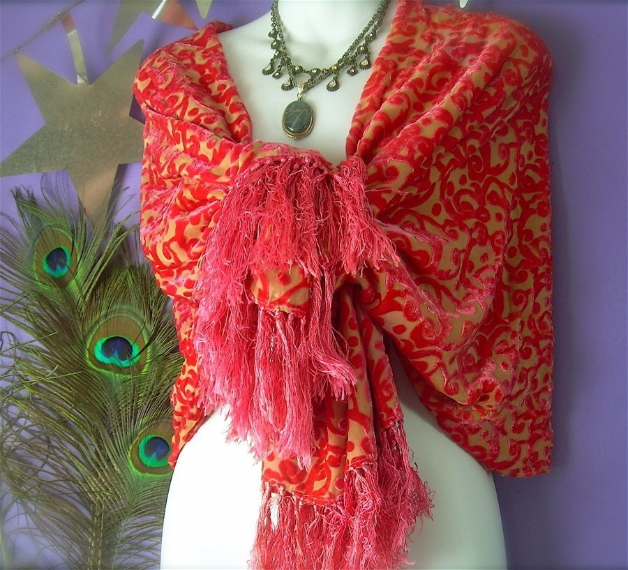 Deep Salmon and Soft Marigold Large Hand Dyed Burnout Silk Velvet Wrap in Abstract Design with Fringe Sarong style