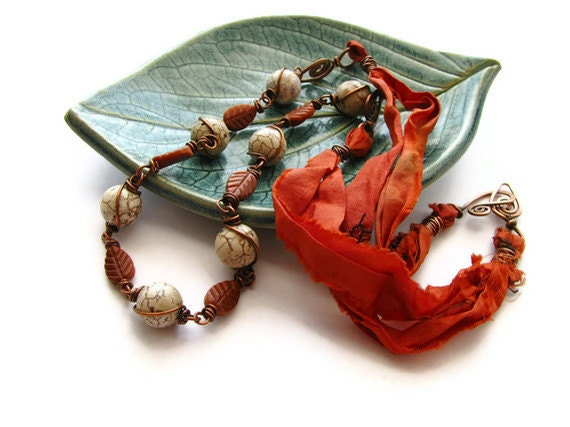 Wire Wrapped Gemstone and Orange Sari Silk Necklace with Goldstone Leaves, Magnesite and Hammered Copper OOAK - Autumn Blaze - heversonart