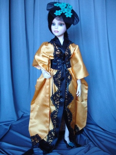 OOAK hand-painted satin kimono for MSD sized BJDs