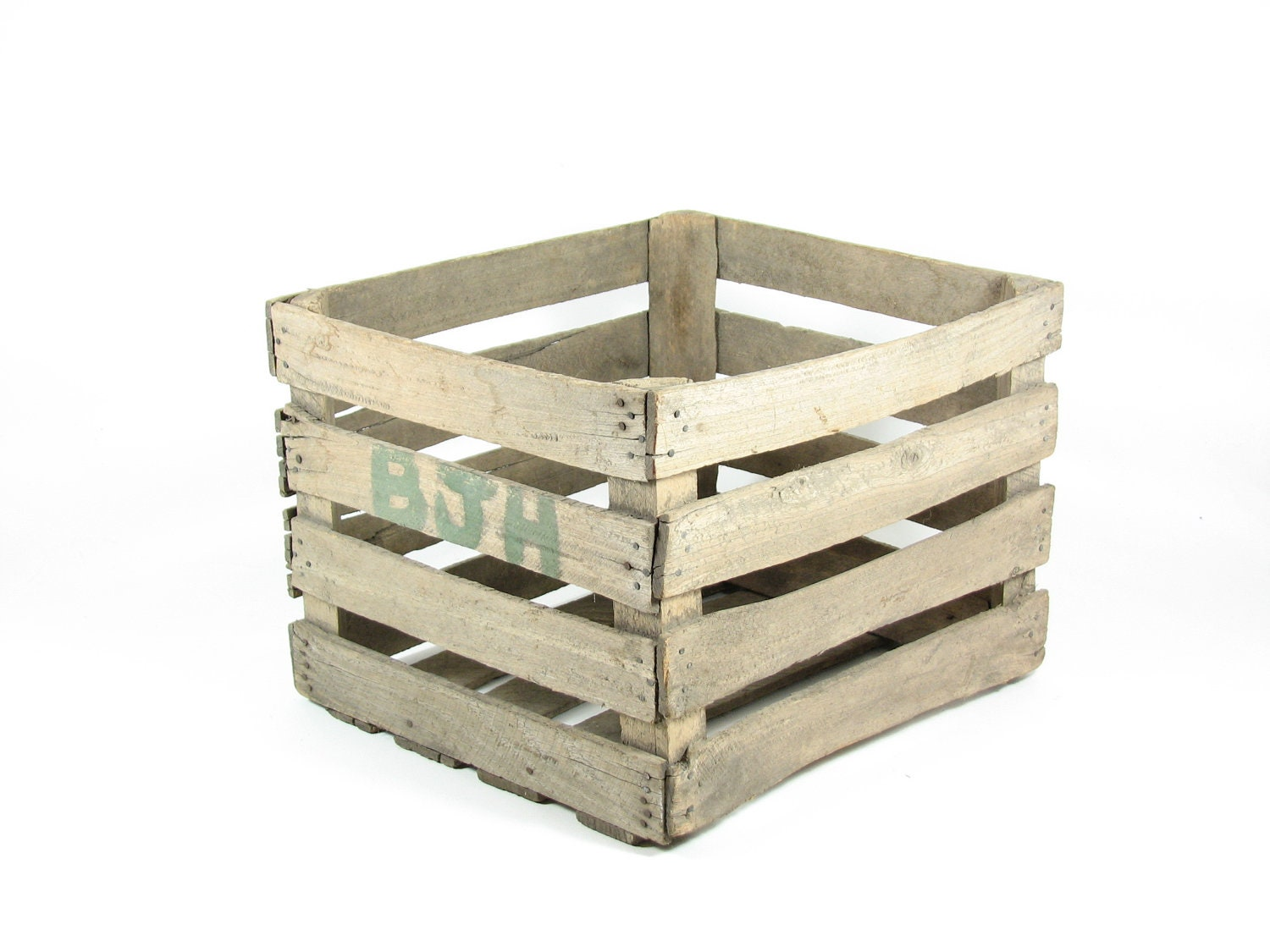 Vintage wooden crate box wood crate fruit crate by for Wooden fruit crates