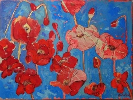 """Red poppy flower Painting. Original art 18x24"""" classic red, deep turquoise blue background, splashes of cedar green & metallic gold shimmer"""