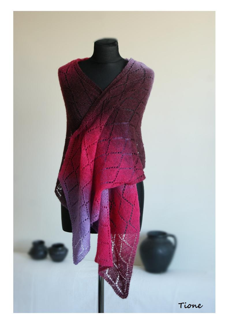 Shawl  Lace Pink Lilac Burgundy Wool Estonian . Scarf Hand Knitted Kauni. MADE TO ORDER. - tione