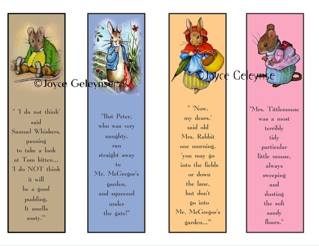 Printable Bookmark Beatrix Potter Characters by