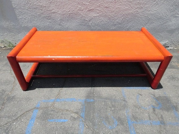 Retro Modern Rectangular Coffee Table Orange Los By Housecandyla