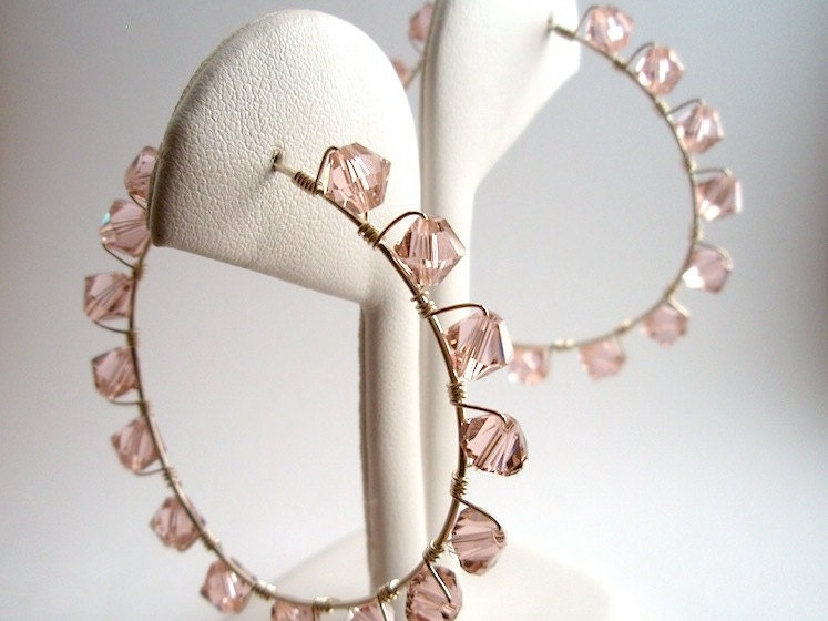 Pink Swarovski in Sterling Silver WireWrapped Hoop Earrings - IOStudio