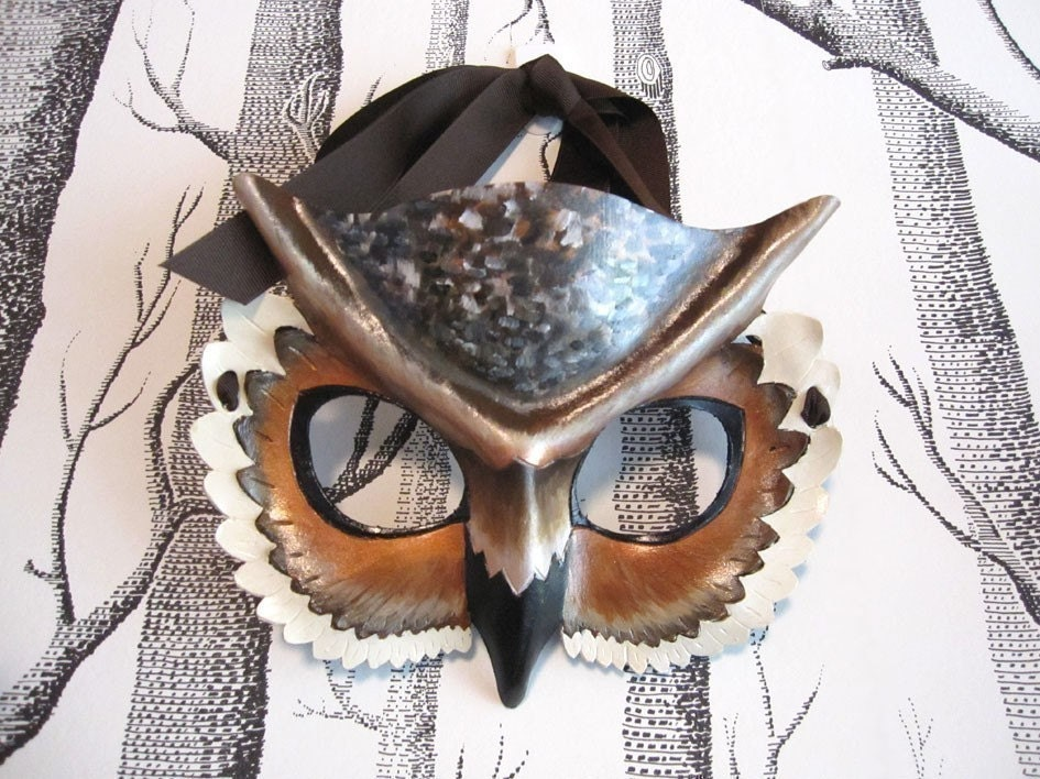 Horned Owl Leather Mask, Child Size - Made to Order ECO-FRIENDLY - SundriesAndPlunder