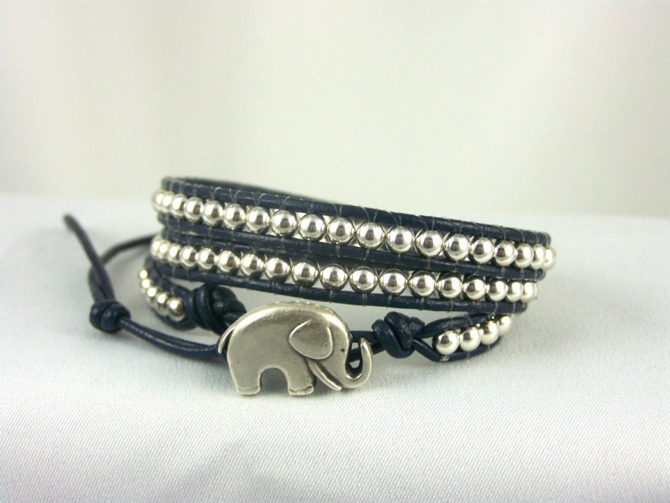 STERLING SILVER Leather Wrap Bracelet, Ladies Size 6.25 - 7.5, Great Gift Idea, Free Shipping