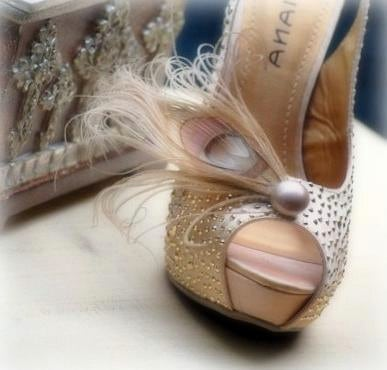 Pearl n' Champagne Shoe Clips Special Day Elegant Couture Statement Stunning Boudoir Bride Bridal Bridesmaid MOH Golden Gold Tan Beige Nude