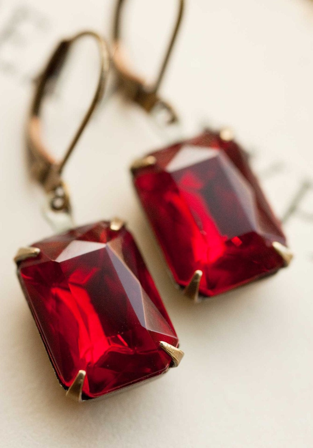 Estate Style Vintage Glass Ruby Red Earrings