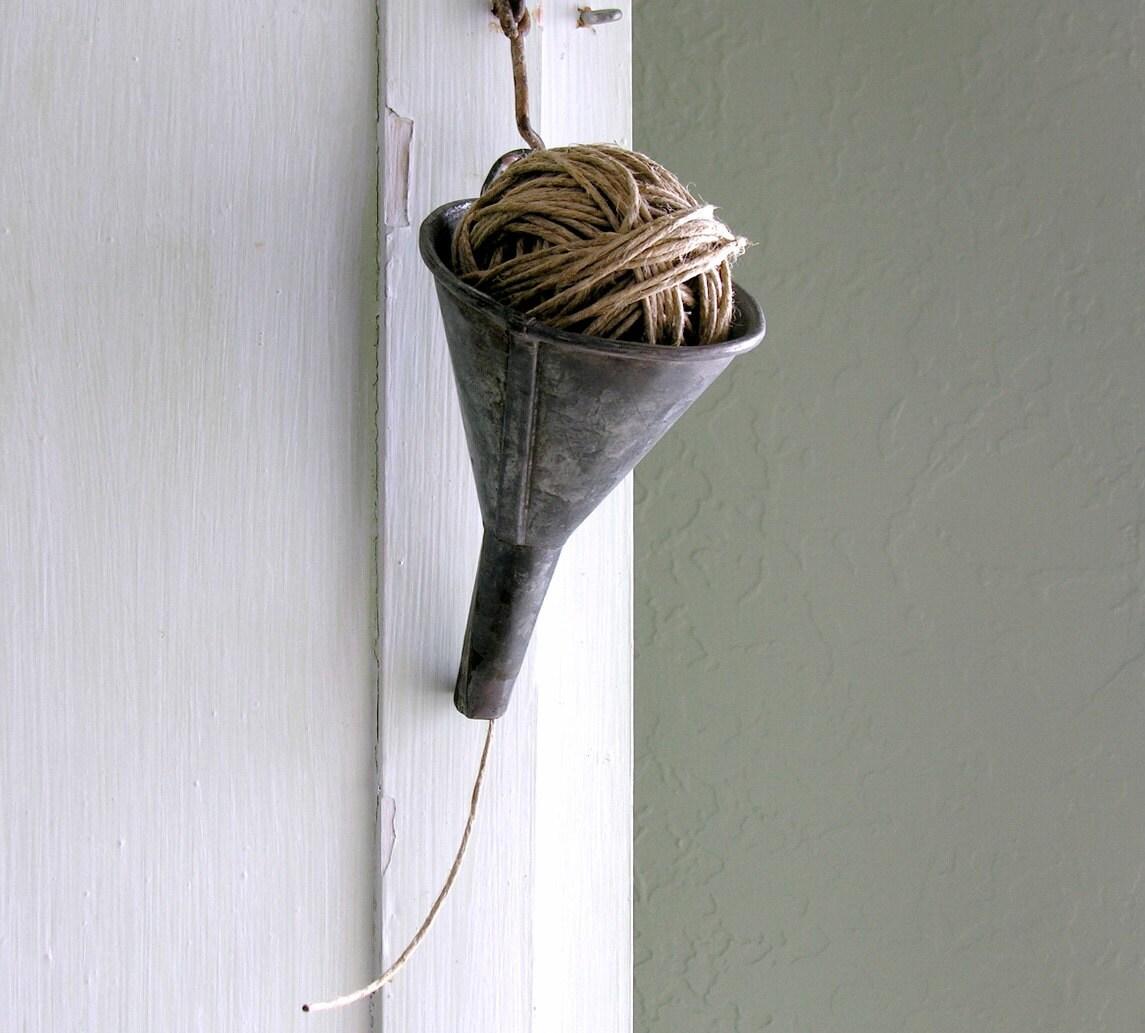 Galvanized Funnel Vintage String Holder Twine By Veraviola