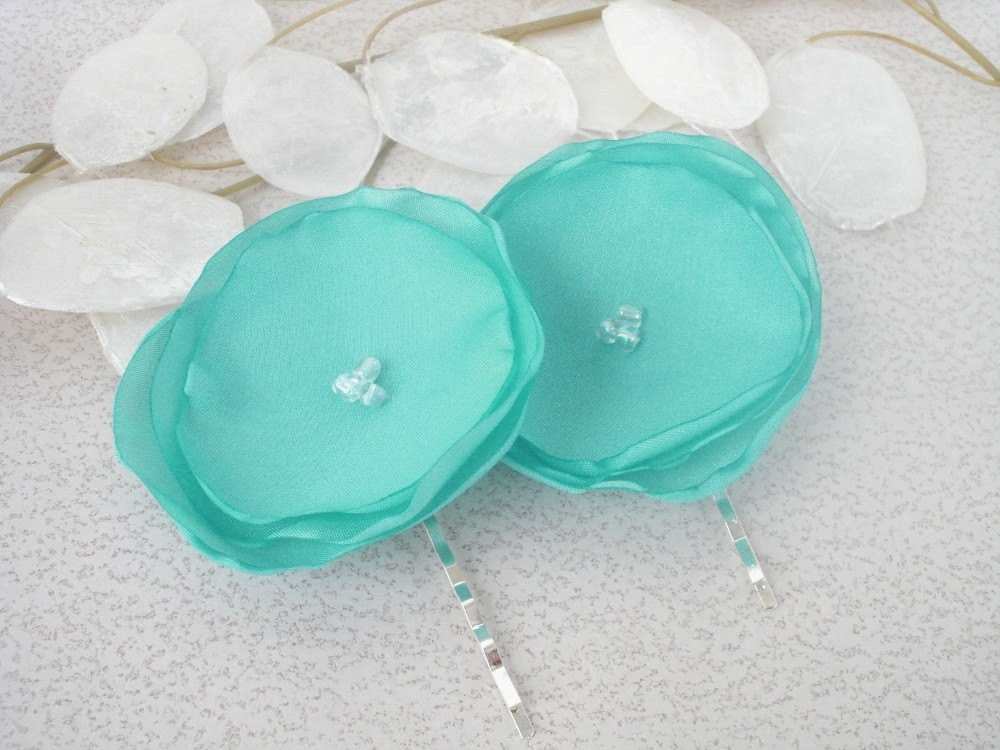 Tiffany Blue Satin Bobby Pin Set