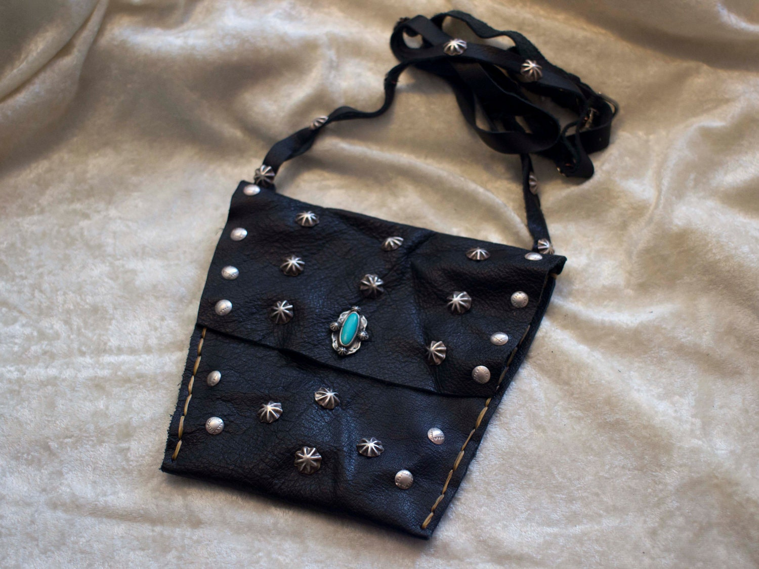 ON SALE - Handmade Navajo Leather Bag with Sterling Silver Stamped Buttons