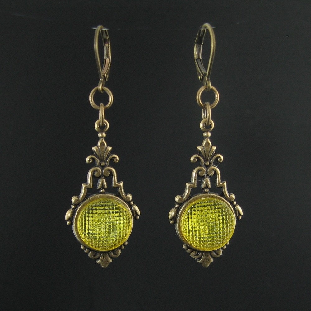 1920s yellow glass art deco button earrings