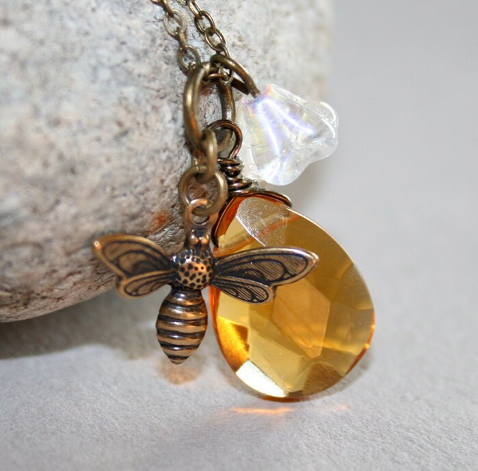 Yellow Faceted Briolette and Honey Bee Necklace by smilesophie from etsy.com