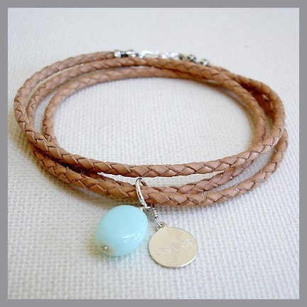 PEACE DISK CHARM, OPAL, TRIPLE-WRAP LEATHER BRACELET