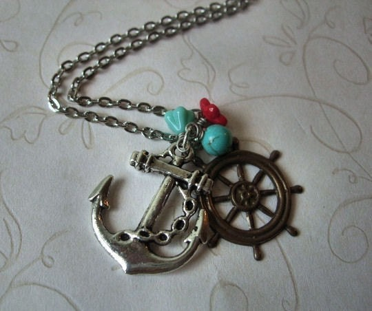 Anchor and  Ships Wheel Silver Necklace